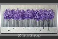 Original+Modern+Art+36x18+Textured+Artwork+Purple+by+ZarasShop,+$295.00