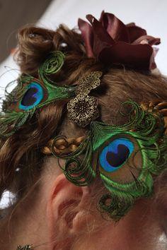 2 x STEAMPUNK neo victorian PEACOCK feather FASCINATOR hair clip barrette Faery Fantasy Wedding headpiece hair jewelry Reenactment accessory. €16.50, via Etsy.