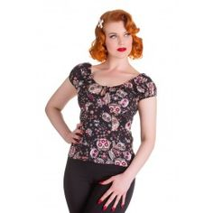 Top Tee Shirt Rockabilly Pin-Up Rétro 50's Skull Love