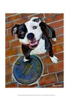 Water Dog - A Staffordshire Bull Terrier (pit bull) painting by Robert McClintock. Bull Painting, Nanny Dog, Bully Dog, Dog Paintings, Awesome Paintings, Bull Terrier Dog, Happy Dogs, Dog Art, Pitbulls