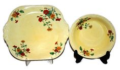 Vintage Yellow Floral Serving Bowl and Platter by VintageStoutcat