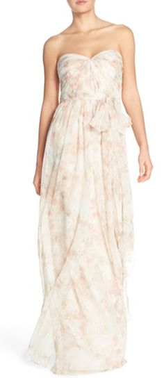 BUY Jenny Yoo 'Nyla' Floral Print Convertible Strapless Chiffon Gown, Samba Batik Flower online now, For everyday savings on a wide selection of Jenny Yoo 'Nyla' Floral Print Convertible Strapless Chiffon Gown, Samba Batik Flower. Wedding Dresses Under 500, Formal Dresses For Women, Girls Dresses, Bride Dresses, Cream Bridesmaid Dresses, Blush Dresses, Bridesmaids, Floral Gown, Gorgeous Wedding Dress