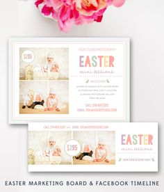Easter Mini Sessions - Marketing Board and Facebook Timeline Bundle -Photoshop Template - INSTANT DOWNLOAD by ByStephanieDesign on Etsy