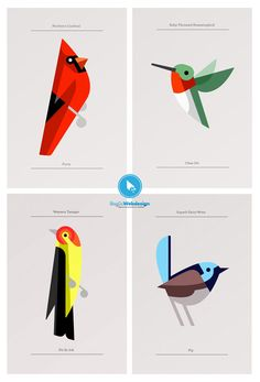 Birds by Josh Brill digi graphic art illustration print cardinal humming bird wren Vogel Illustration, Illustration Design Graphique, Art Graphique, Graphic Illustration, Graphic Art, Bird Graphic, Affinity Designer, Art Design, Design Web