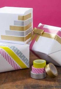 geschenkverpackung basteln mit farbigenTesafolien