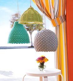 Cúpula de luminária com crochê.