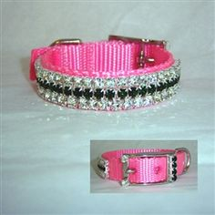 "Pinky Emerald Crystal Jeweled Pet Collar    Pastel pink nylon pet collar decorated with clear and emerald crystal. Very pretty collar. Shown in 5/8"" wide. 1 inch wide also available."