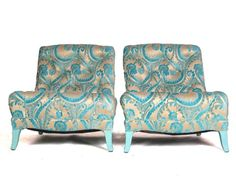 DREW MCGUKIN'S PICK - Turquoise FLocked Velvet Paisley Chairs - $6400. Kind of love the fabric.