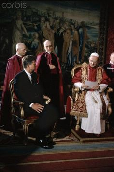 President John F. Kennedy and Pope Paul VI talk at the Vatican ~ July 2, 1963
