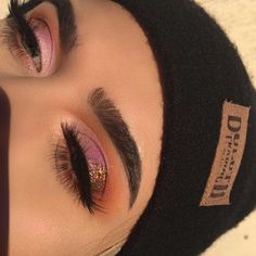"""•brows: @anastasiabeverlyhills dipbrow in """"granite"""", clear brow gel #anastasiabrows #abhbrows •eyes: @anastasiabeverlyhills #abhshadows shadows in orange soda, realgar, sienna, and electro, moonchild glowkit- pink heart and purple horseshoe; @eylureofficial lashes in """"gilded"""" from the faux mink collection; @certifeye loose glitter •skin: @anastasiabeverlyhills stick foundations in cool beige, banana, and fawn, fawn powder from contour kit, pink heart from moonchild and so holly..."""