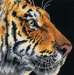 Tiger Profile Mini Needlepoint Kit-5 X5  Stitched In Thread