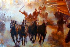 Charge of the Chinese war chariots during the Warring States Period, ancient China
