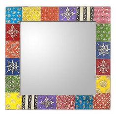 Hand Painted Wall Mirror - Happy Colors   NOVICA