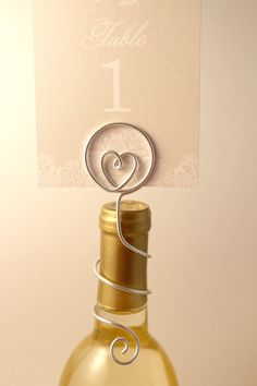 Wine Bottle Table Number Holder with Heart by CharmedDetails