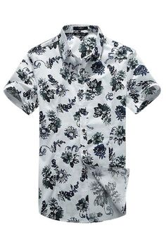 Floral Pattern Short-Sleeved Classical Shirt