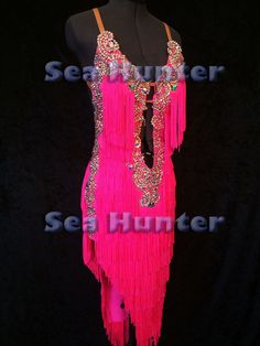 Woman Ballroom Latin Cha Cha Sambe Dance Dress US 6 UK 8 Bright Pink Fringing #Sevex