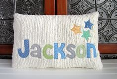 Keepsake Baby Gifts, Personalized Baby Gifts, Newborn Baby Gifts, Baby Boy Gifts, Applique Letters, Applique Pillows, New Baby Presents, Toddler Pillow, Custom Pillow Cases