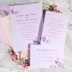 Simple purple floral wedding invites EWI016 as low as $0.94