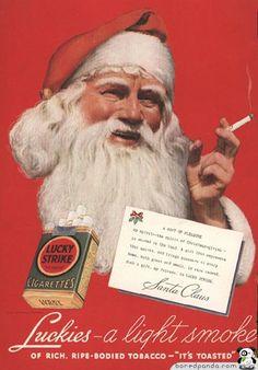 Vintage Lucky Strike Santa