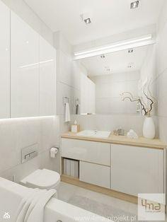 Projekt mieszkania na Bielanach o pow. 51,5 m2. - Mała łazienka w bloku bez okna, styl nowoczesny - zdjęcie od 4ma projekt