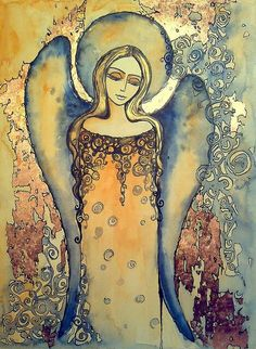 Watercolor angel share your serenity with me. Angel Images, Angel Pictures, Seraph Angel, I Believe In Angels, Angel Statues, Angel Art, Religious Art, Ink Art, Painting Inspiration
