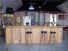 Garage turned man cave--could do this in a shed for the hubby