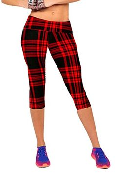 Pink Queen® Womens Tartan Active Workout Capri Leggings Fitted Stretch Tights - http://girlsbook101.com/2015/09/pink-queen-womens-tartan-active-workout-capri-leggings-fitted-stretch-tights/