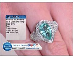 3.00 ct Paraiba Tourmaline Pear & 1.43 ctw Diamond Round 18K White Gold Ring, Size 6.75
