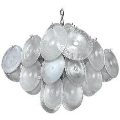 Mazzega Vistosi Murano Iridescent Disc Glass Chandelier | From a unique…