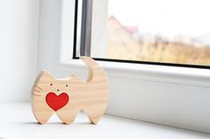 Wooden love cat Puzzle Toy Wooden Puzzle cat by LadyEvaDESIGN
