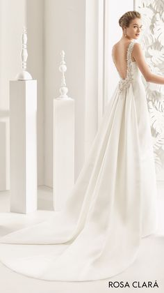 rosa clara 2017 bridal sleeveless bateau neckline simple clean elegant sheath wedding dress open low back chapel train (navas) bv -- Rosa Clará 2017 Bridal Collection