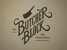 I like that this isn't circular and doesn't include an animal--unique  Butcher Block Logo // neilrenicker.com