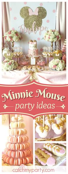 Take a look at this stunning vintage Minnie Mouse birthday party! The dessert table is gorgeous!! See more party ideas and share yours at CatchMyParty.com #minniemouse #birthdayparty