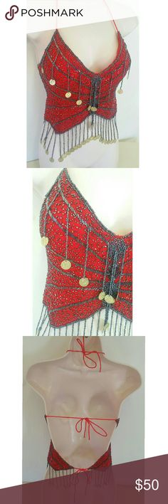 Beautiful Beaded Coin Top New without tags, never worn Beautiful red top with black/gray metallic beads Gold jingle jingling coins Ties behind neck like a halter top and ties again in two more spots on the back Soft silky inside Lightly padded busts 100% Rayon, made in India One size   Tags: belly dancer hippy hippie boho Indian Tops
