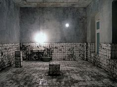 Chiharu SHIOTA - Closed Daily Life: An image of what the torture room would have looked like during Nawal's imprisonment.