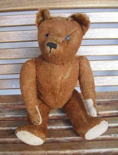 "Mohair Teddy Bear 19 3/4"" with growler....Photo via ebay"