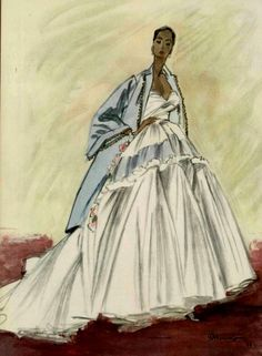 Christian Dior, Evening Dress, illustration by Pierre Mourgue, 1948