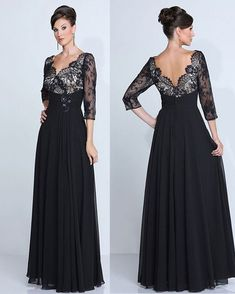Sexy Black Chiffon Lace Mother  of the Bride 3/4 Sleeves Plus Size Custom Made