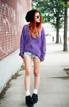 LE HAPPY, Purple sweater, Simpsons, shorts Sweater - Drop Dead Shorts – Bad Ideas Creepers- T.U.K / get them here Socks - Boohoo
