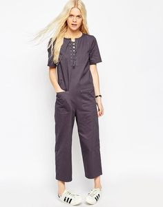 ASOS+Relaxed+Jumpsuit+with+Lace+Up+Detail
