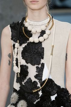 Panelled dress with textured floral embellishment; fashion details // Marni