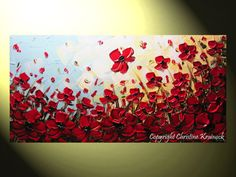 """ORIGINAL Art Abstract Painting Red Poppies Painting Textured Poppy Flowers Palette Knife Paintings Spring Wall Decor 24x48"""" Christine"""