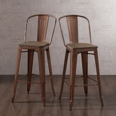 Tabouret Wood Seat Brushed Copper Bistro Bar Stool (Set of 2) - Overstock™ Shopping - Great Deals on Bar Stools