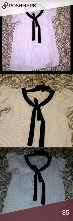 Cute flowy white button up with black bow kawaii Cute flowy white button up with black bow, good for a cute office look or a low key lolita look. Allegra K Tops Blouses