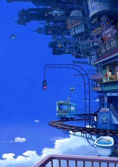 ImaginaryMindscapes - The Art of Imagination Fantasy City, Fantasy Places, Fantasy World, Anime Fantasy, Fantasy Art Landscapes, Fantasy Landscape, Landscape Art, Japon Illustration, Anime Scenery Wallpaper