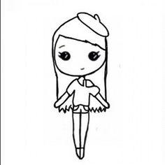 cute chibi Chibi Girl Drawings, Bff Drawings, Cute Easy Drawings, Drawings Of Friends, Cute Kawaii Drawings, Cartoon Drawings, Cute Girl Drawing, Dibujos Cute, Black And White Drawing
