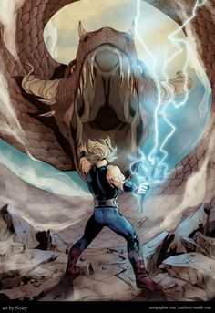 It is said Ragnarok will begin when the serpent of Midgard, Jörmungandr, stops bitting its own tail, Thor will give it death, but shall die as well in t. Comic Book Characters, Marvel Characters, Comic Character, Comic Books Art, Comic Art, Book Art, Marvel Comic Universe, Comics Universe, Asgard