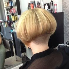 This bob haircut has great weight and volume. And I like the rounded neckline
