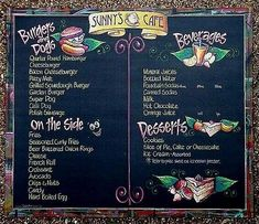 Restaurant Chalkboard Art | Chalk Art - Menu Boards (Sunny's Cafe On Gravel #1)