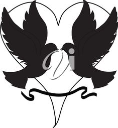 Clip Art Illustration of Doves Over a Heart in Silhouette #2622804 | Clipart.com Valentines Day Clipart, Clipart Images, Royalty Free Images, Illustration Art, Clip Art, Silhouette, Heart, Vector Clipart, Hearts